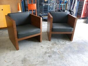 Excellent Details About Ultimate Pair Mid Century Modern Rosewood Leather Cube Lounge Chairs Machost Co Dining Chair Design Ideas Machostcouk