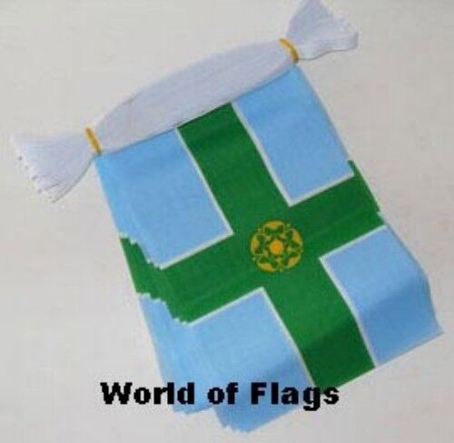 DERBYSHIRE BUNTING 9m 30 Polyester Fabric Party Flags Derby Flag English County