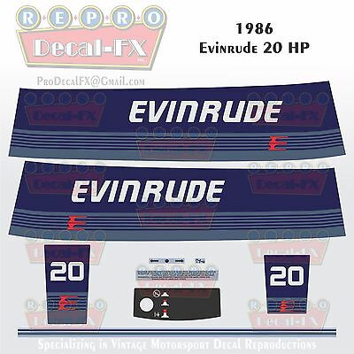 1986 Evinrude 15 HP Outboard Reproduction 9Piece Marine Vinyl Decals Two Stroke