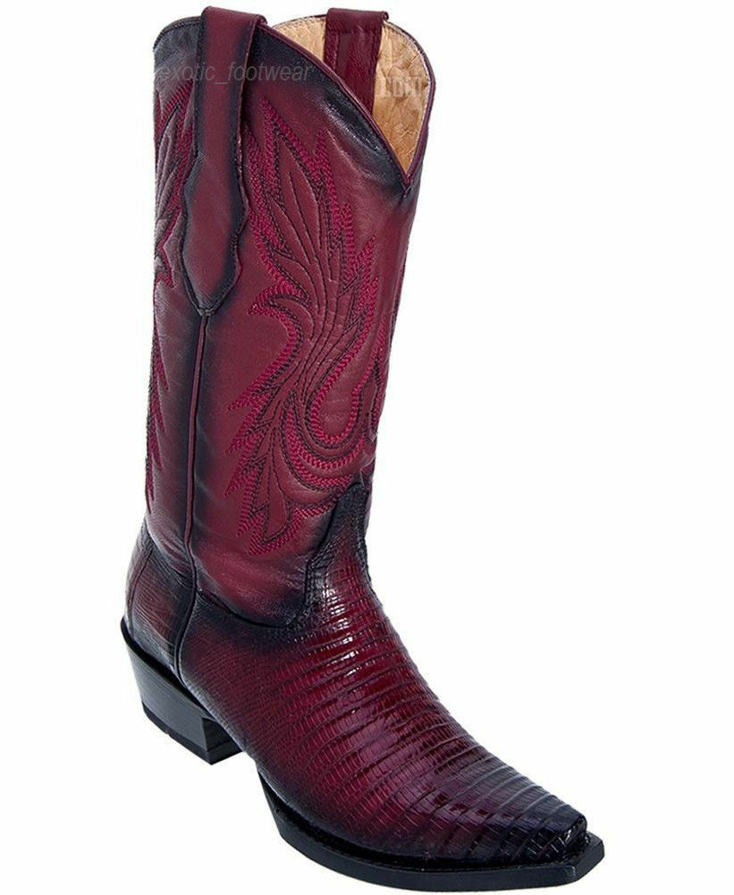 WOMEN LOS ALTOS BURGUNDY GENUINE TEJU LIZARD SNIP TOE WESTERN COWBOY BOOT 340743