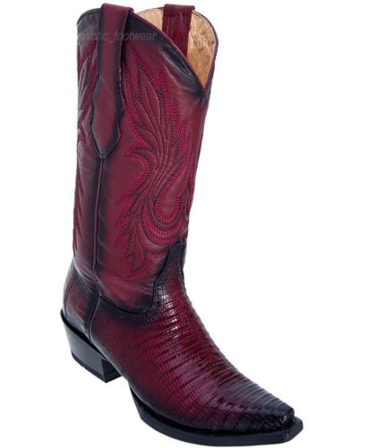 WOMEN LOS ALTOS BURGUNDY GENUINE TEJU LIZARD SNIP TOE WESTERN COWBOY BOOT 340743