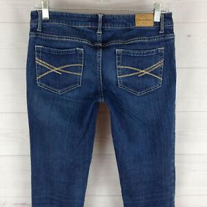 Aeropostale-Bayla-womens-size-5-6-stretch-blue-med-wash-skinny-denim-jeans-EUC