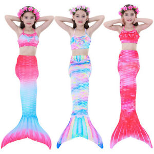 36eeb80415d43 Image is loading Kids-Girls-Mermaid-Tail-Monofin-Swimmable-Swimming-Costume-