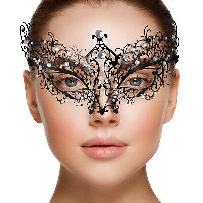 Venetian Black Lace Masquerade Metal MaskClear Diamantes PROM Fancy Dress