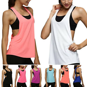 b966f627cf Womens Vest Workout Tank Tops T-shirt Sport Gym Clothes Fitness Yoga ...