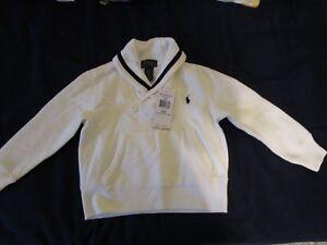 Toddler-2-2T-Pullover-Sweatshirt-Polo-Ralph-Lauren-NEW-Beige-Black-Trim