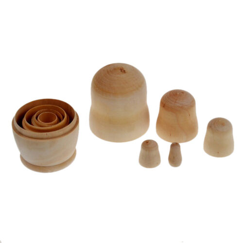 5Pcs//set Unpainted Nesting Dolls Wooden DIY Blank Embryos Matryoshka Toy