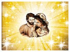 Quadro moderno 100x70 sacra famiglia madonna gesù nascita sole stelle oro letto