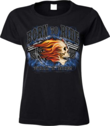 Frauen T Shirt in schwarz HD V Twin Biker-/&Choppermotiv Modell Born To Ride