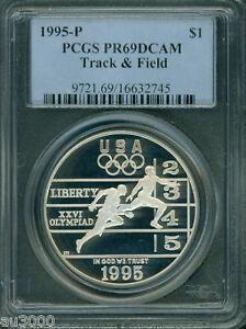 1995 P $1 U.S Olympic Track Field Silver Commemorative Dollar PCGS PR69DCAM