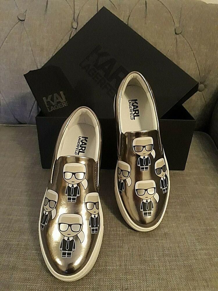 *** Nouveau Karl Lagerfeld Effet Métallique à Enfiler Chaussures Taille Uk 7 ***