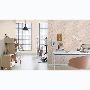 Florentine-Floral-Tissu-Peint-Rouleaux-Gris-Rose-Pale-Rasch-455656-Fleurs