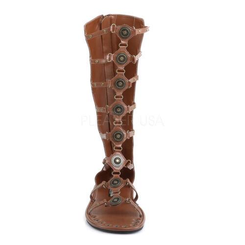 Funtasma Brown Cage Spartan Gladiator Sandal Boots Cosplay Halloween Mens 8-14