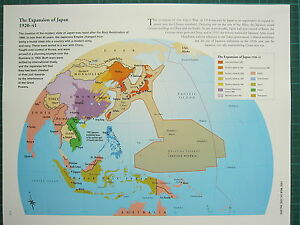 WW WWII MAP EXPANSION OF JAPAN JAPANESE EMPIRE COLONIAL - Japan map poster