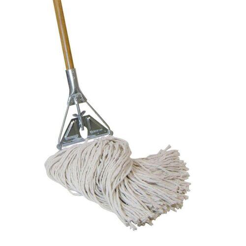 Heavy Duty Wet String Mop Commercial Floor Tile Wood Handle Jobsite Janitorial