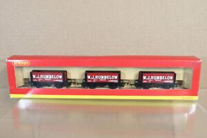 HORNBY-R6086-W-J-RUMBELOW-CAMBRIDGE-7-PLANK-WAGON-SET-MINT-BOXED-ny