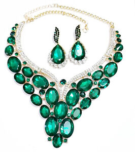 Green-Statement-Choker-Necklace-Earring-Set-Prom-Drag