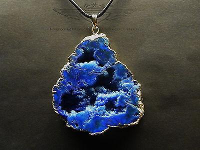 Anhänger, Achat Druse, 24 Karat vergoldet Edel eingefasst Gold,Lapislazuli Blau