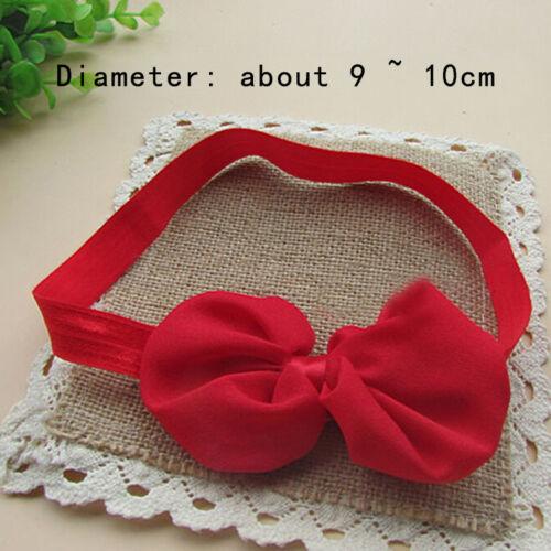 2X Baby Mädchen Newborn Chiffon Bowknot Stirnbänder Haarband Haarschleife Band