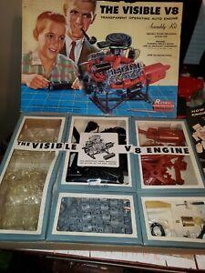 Vintage-Science-Hobby-Toy-1960-Renwal-The-Visible-V8-Engine-ESTATE-FIND