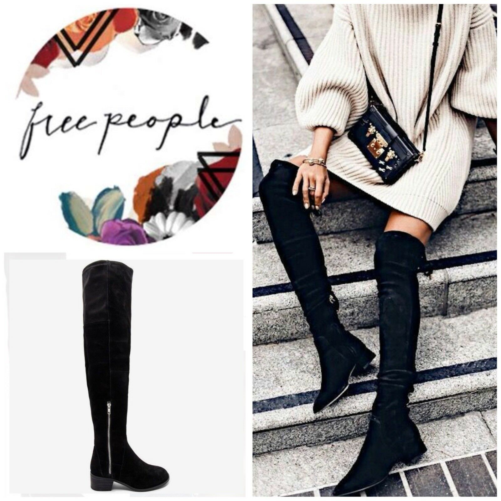 Free People Everly Thigh High Suede Boots Black Size 38/8 New