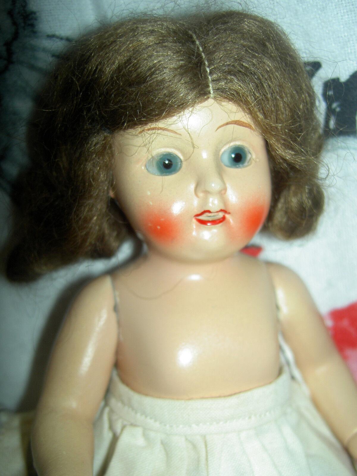 Sweet Antiguo Alemán Articulado todos Bisque Muñeca de casa de muñecas, los ojos de sueño, Peluca Original