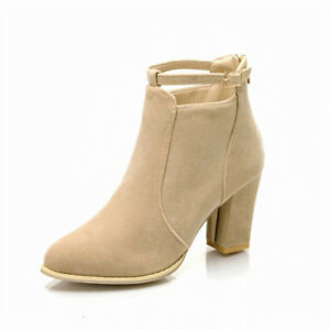 Women-Ankle-Boots-Round-Toe-Block-High-Heels-Back-Zip-Suede-Shoes-Buckle-Booties