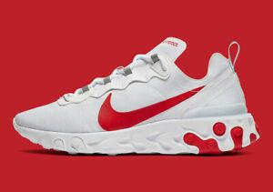 New-Nike-Men-039-s-React-Element-55-SE-Shoes-BQ6167-102-White-Bright-Crimson-Black