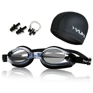 Swimming-Goggles-Anti-Fog-UV-Protection-Set-Swim-Cap-Earplug-Nose-Clip-Clear-Len