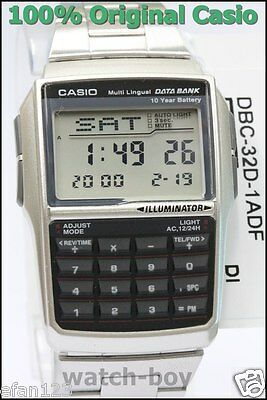 DBC-32D-1A Silver Casio E Data Bank Steel Watch DBC32D Calculator Telememo New