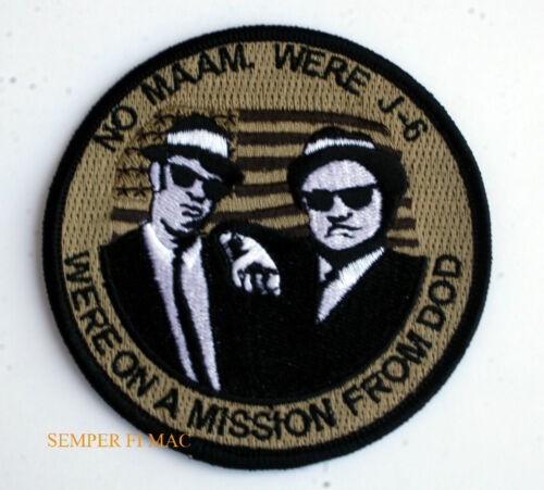 J-6 PATCH PENTAGON WE/'RE ON A MISSION FROM DOD BLUES BROTHERS PIN UP US FLAG WOW