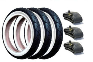 GENUINE-Phil-and-Teds-Pram-Tyres-amp-Free-Tubes-Set-of-3-with-White-Wall