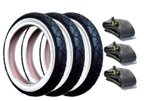 Set of 3 GENUINE Phil and Teds Pram Tyres /& Free Tubes with White Wall