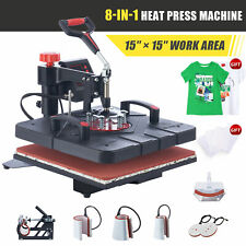 15x15 Heat Press Machine 8in1 T Shirt Transfer 1000w Press With Slide Out Base
