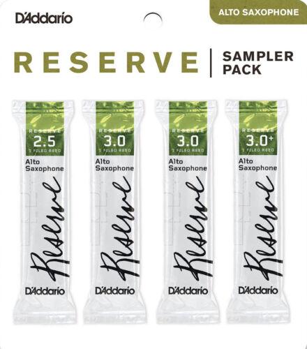4-pack D/'Addario Reserve DRS-J25 Reed Sampler Pack Alto Sax #2.5//3.0//3.0+