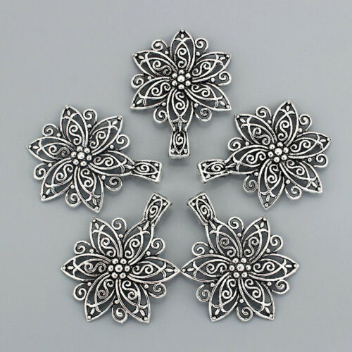 3pcs Antique Silver Large Open Flowers Chamrs Pendant DIY Jewelry Findings