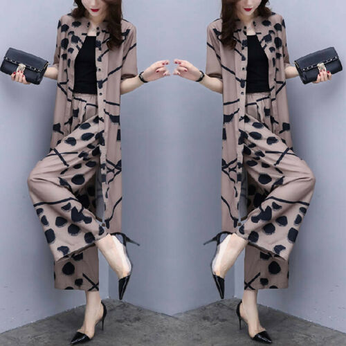 2 Stuecke Chiffon Frauen laessig Set Wear Loose Suit Wide Leg Pants lang BluXJ