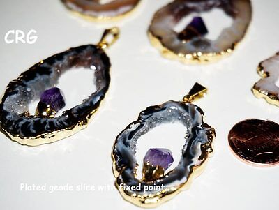 GD12BT Oco Geode GOLD Plated Slice Pendant with FIXED QUARTZ Crystal Point