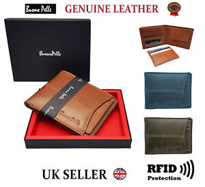 MENS LEATHER WALLET RFID DESIGNER BUONO PELLE QUALITY CREDIT CARD COIN HOLDER
