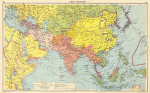 Map Of Asia After Ww2.Details About Ww2 Asia Japanese Occupied China Indochina Philippines Middle East 1942 Map