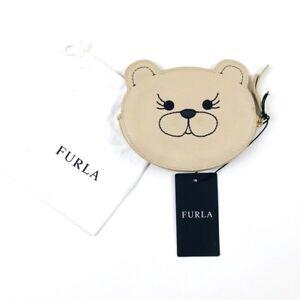 Furla-Beige-Acero-Bear-Coin-Purse-Wallet-Leather-Zip-Dust-Bag