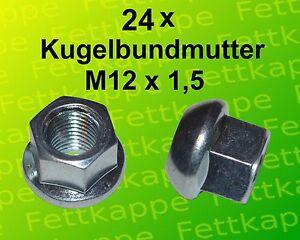24 x Kugelbundmutter M12x1,5 DIN 74361 A verz. Radmutter