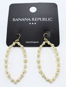 ac1c4630e New Pair of Gold Dangle Earrings with Simulated Pearls by Banana ...