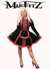 MISFITZ BLACK AND RED PVC  STRAITJACKET PADLOCK MAIDS DRESS SIZE 18 TV