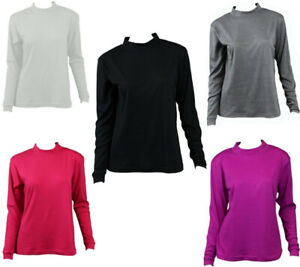 NEW-Women-039-s-Cotton-Skivvy-Long-Sleeve-Top-High-Neck-Basic-Plain-Core