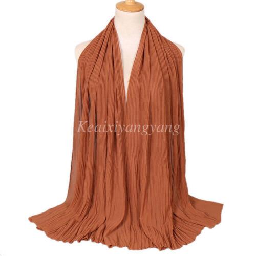 Women Solid Color Chiffon Pleated Crinkle Hijab Scarf Shawl Soft Islam Muslim