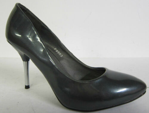 """LADIES SPOT ON PEWTER PATENT COURT SHOES /""""F9563/"""""""