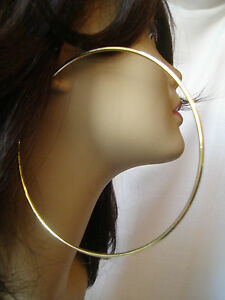 Image Is Loading Large Hoop Earrings Gold Tone 4 25 Inch