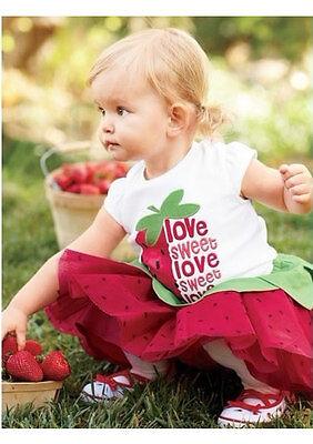 Baby Girls Strawberry T-shirt Top+Skirt Dress Tutu Pettiskirt Outfit Set Clothes