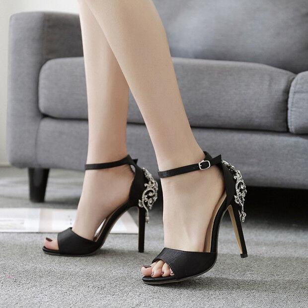 Último gran descuento Sandali eleganti tacco stiletto 11 cm nero gioiello simil pelle eleganti 9711